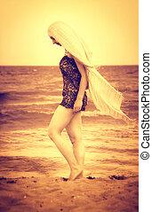 gyalogló, nő, homok, csendes, tengerpart, érzéki