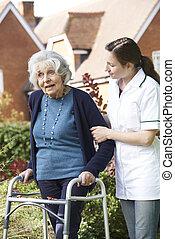 gyalogló, nő, kert, carer, keret, jár, ételadag, használ, idősebb ember