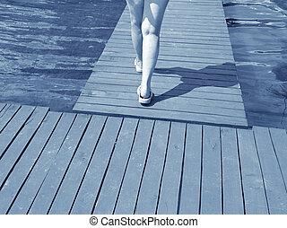gyalogló, nő, móló