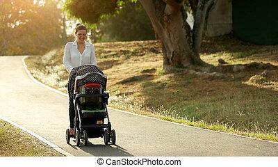 gyalogló, nő, sport babakocsi, liget, anyu, anya, totyogó kisgyerek