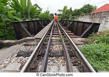 gyalogló, nő, vasút