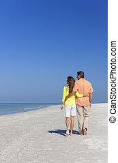 gyalogló, tengerpart, párosít, üres