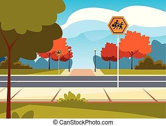gyalogos utca, színhely, út, signage