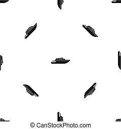 gyaluló, motívum, powerboat, seamless, fekete