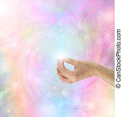 Gyan Mudra Hand Position on bright rainbow energy vortex
