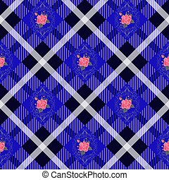 Gyan tartan plaid and flowers pattern on checkered background for textile