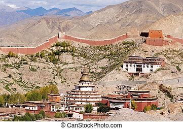 Gyantse lamasery,Tibet - Famous landmark of Gyantse lamasery...