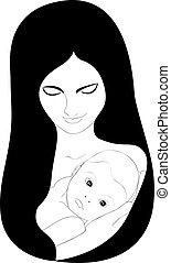 gyengéd, anya, gyermek