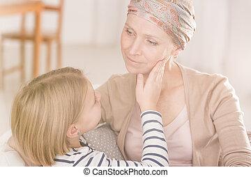 gyengédség, anya, között, gyermek