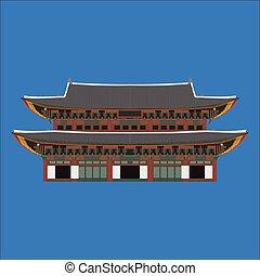 gyeongbokgung, corea del sur, país, diseño, plano, caricatura, elements., viaje, señal, seúl, turismo, place., mundo, recorrido de las vacaciones, ciudad, turismo, asia, edificio, collection., arquitectura asiática, aislado