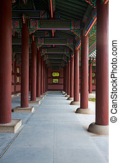 Gyeongbokgung Hallway Repeating Pillars - A beautiful set of...