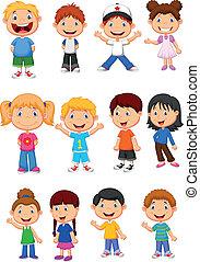 gyerekek, állhatatos, gyűjtés, karikatúra