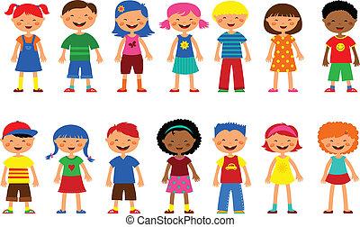 gyerekek, -, állhatatos, közül, csinos, ábra, vektor