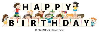 gyerekek, és, boldog születésnapot, aláír