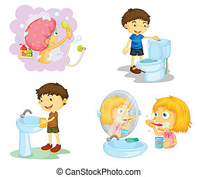 gyerekek, és, fürdőszoba kiegészítők