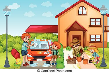 gyerekek, és, felnőtt, mosás, autó, és, berendezés fa