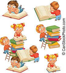 gyerekek, alatt, a, könyvtár