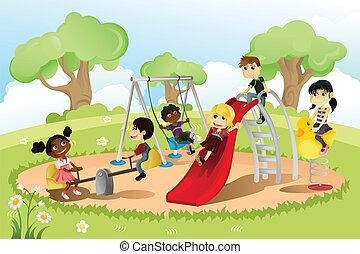 gyerekek, alatt, játszótér