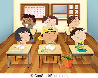 gyerekek, alatt, osztályterem
