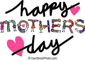 gyerekek, anyák, szöveg, cím, nap, boldog