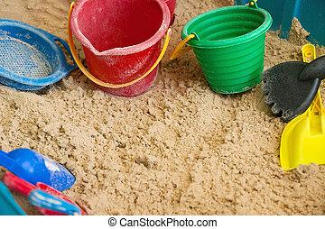 gyerekek, apró, homok