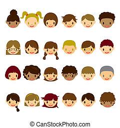 gyerekek, arc, ikonok, állhatatos