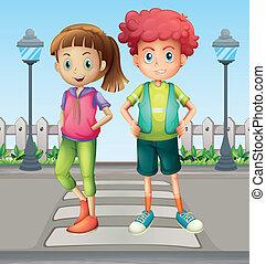 gyerekek, -ban, a, gyalogos, sáv