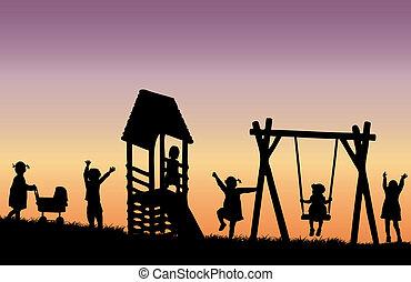 gyerekek, -ban, a, playground.