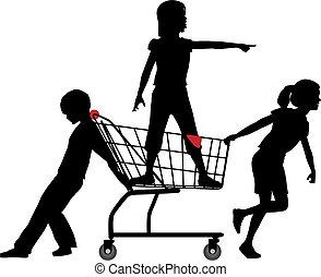 gyerekek, bevásárlás, gyorsaság, nagy, beszerez, kordé, gördülő