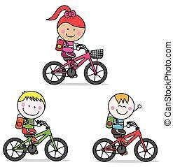 gyerekek, bicikli