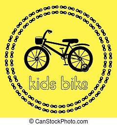 gyerekek, bicikli, ikon, (logo, vagy, label).