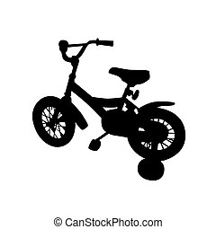 gyerekek, bicikli, vektor, ábra