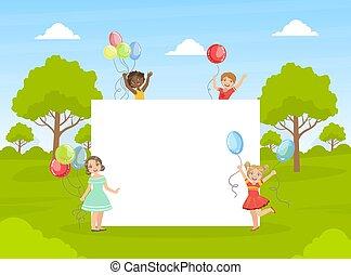 gyerekek, csinos, transzparens, birtok, színes, ábra, tiszta, üres, boldog, vektor, léggömb