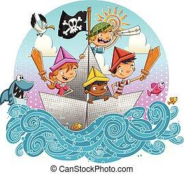 gyerekek, csoport, boat., vitorlázás, karikatúra, dolgozat, kalóz