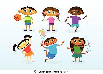 gyerekek, csoport, gyűjtés, jókedvű, elegyít, faj, különböző, gyerekek