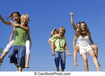 gyerekek, egészséges, faj, sport, háton, aktivál, nap