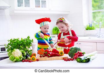 gyerekek, főzés, egészséges, vegetáriánus, ebédel
