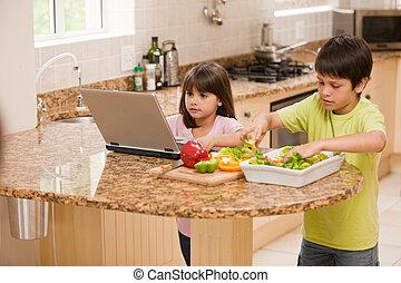 gyerekek, főzés, konyhában
