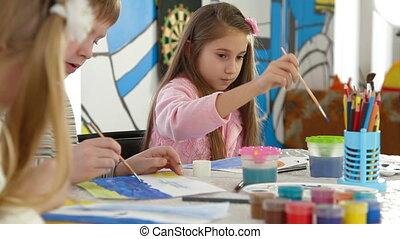 gyerekek, festmény, alatt, játék hely