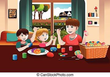 gyerekek, festmény easter ikra