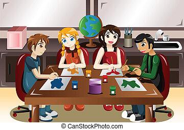 gyerekek, festmény, együtt, alatt, egy, rajzóra osztály