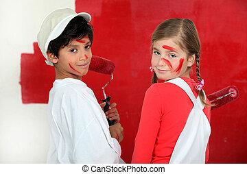 gyerekek, festmény, egy, fal, piros