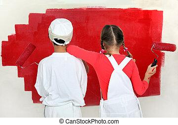 gyerekek, festmény, egy, fal
