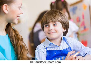 gyerekek, festmény, noha, tanár
