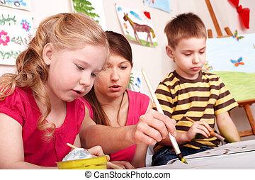 gyerekek, festmény, noha, teacher.