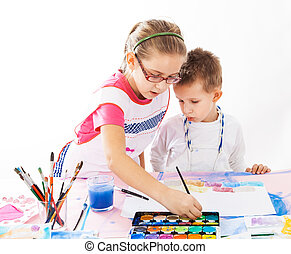 gyerekek, festmény