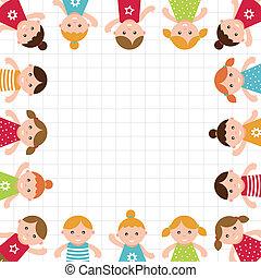 gyerekek, frame., vektor, illustration.