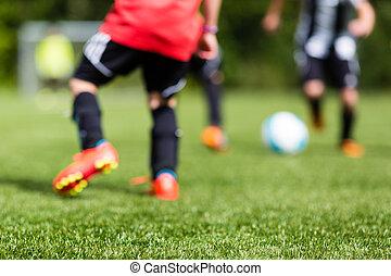 gyerekek, futball, elhomályosít