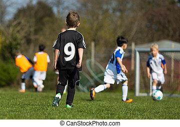 gyerekek, gyakorló, futball