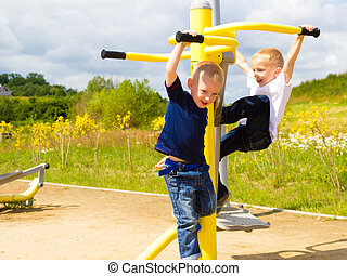 gyerekek, gyerekek, móka, playground., aktivál, birtoklás